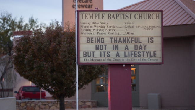 This Temple Baptist church sign on Missouri Avenue seems to have been used as a backdrop for a meme generator. Wednesday Nov. 29, 2017.