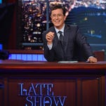 """File / CBS Host Stephen Colbert appears during a taping of ?The Late Show with Stephen Colbert,? in New York. In this Sept. 9, 2015 file image released by CBS, host Stephen Colbert appears during a taping of """"The Late Show with Stephen Colbert,"""" in New York. In May, David Letterman retired from CBS' """"Late Show"""" and in September, Colbert arrived as its new host. (Jeffrey R. Staab/CBS via AP, File) MANDATORY CREDIT; NO ARCHIVE; NO SALES; FOR NORTH AMERICAN USE ONLY."""