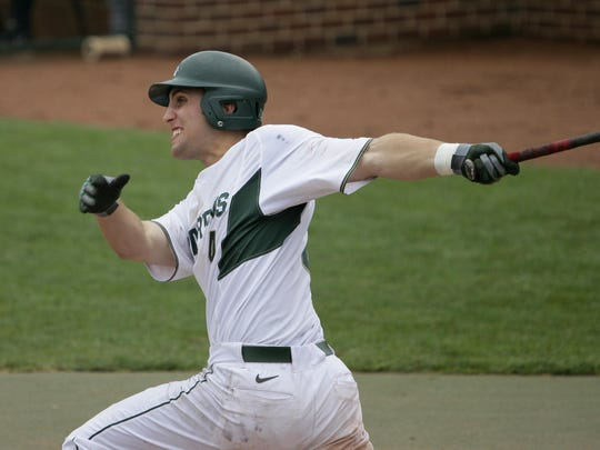 MSU third baseman Mark Weist was a first-team All-Big Ten selection after hitting .346 with six home runs, 37 RBIs and 11 stolen bases this spring. The former NAIA player at Spring Arbor transferred to MSU for his final year.