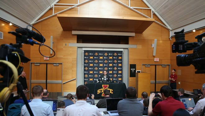 Iowa State University Athletic Director, Jamie Pollard holds a news conference on Monday, Nov. 23, 2015 in Ames, the day after announcing the firing of head football coach Paul Rhoads.