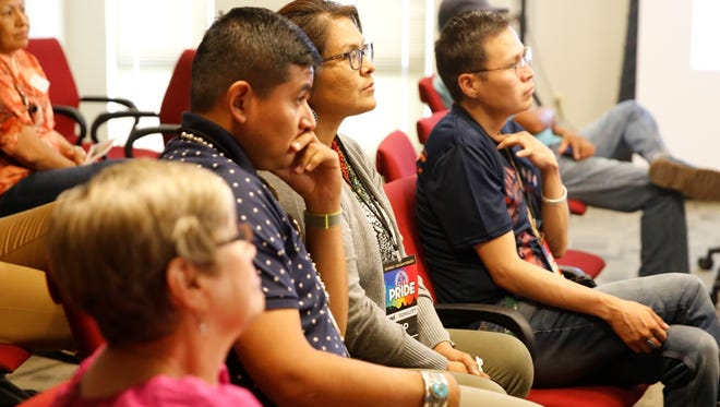 Members and supporters of the LGBTQ community attended the Diné Pride symposium on Friday at the Navajo Division of Transportation in Tsé Bonito.