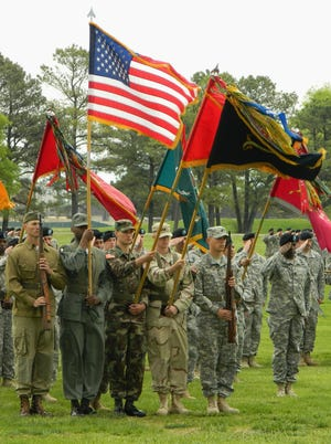 With a color guard representing five eras of 'Currahee' history in front, the 4th Brigade Combat Team had its best face on for its inactivation ceremony April 25, 2014, at Fort Campbell, Ky.