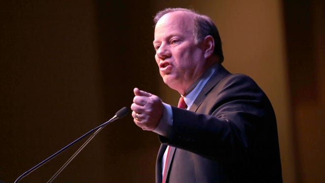 Mayor Mike Duggan delivers a speech during his State of the City Address at Second Ebenezer Church on Tuesday, February 23, 2016, in Detroit.