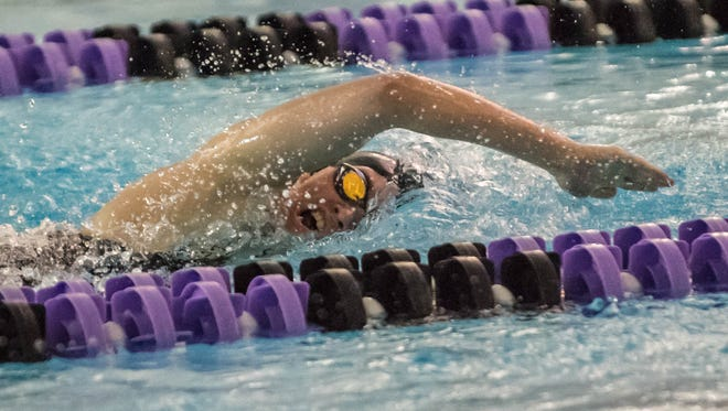 Lakeview's Allison Shenefield competes in the 100 Yard Freestyle during the 2016 All-City Swim Meet held at Lakeview on Saturday.