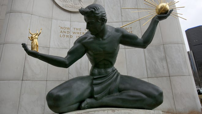The Spirit of Detroit outside the Coleman A. Young Municipal Center in Detroit on Jan. 26, 2017.