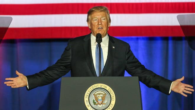 President Donald Trump speaks about tax reform at the State Fairgrounds in Indianapolis on Sept. 27, 2017. The invitation-only event was held at the fairgrounds' Farm Bureau Building.