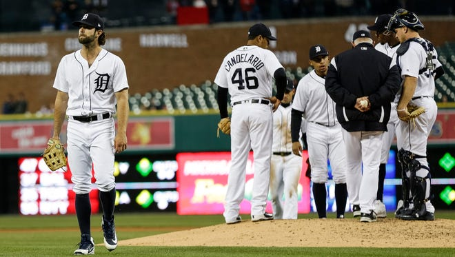 Detroit Tigers pitcher Daniel Norris (44) walks off the field during a pitching change in the top of 5th inning against the Kansas City Royals at Comerica Park, Friday, April 20, 2018.