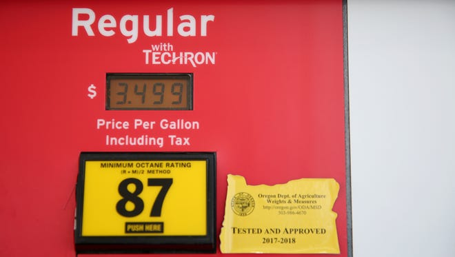 Regular gas is priced at $3.49 a gallon at the Chevron Station at Commercial St. SE and Hoyt St. SE in Salem on Thursday, May 24, 2018.