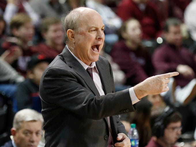 Mississippi State coach Ben Howland calls out to his