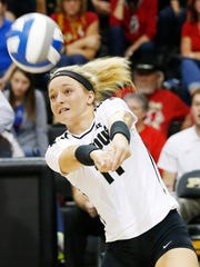 Purdue's Carissa Damler with a dig against Maryland Wednesday, November 2, 2016, at Holloway Gymnasium. Purdue defeated Maryland 25-23, 25-15, 16-25, 28-26.