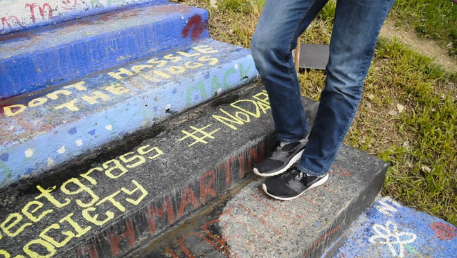 """Members of the Sweetgrass Society were allowed to repaint a step on the campus """"Hello Walk,"""" seen Monday, May 8, 2017.  The step was painted over last year after a controversy over the #NoDAPL hashtag, which is a sign of opposition to the Dakota Access Pipeline in North Dakota.  (Holly Michels/The Billings Gazette via AP)"""