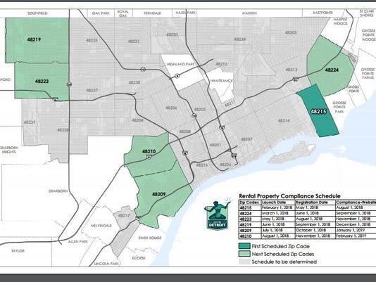 48223 Zip Code Map.Detroit Cites Six Zip Codes For Rental Inspections