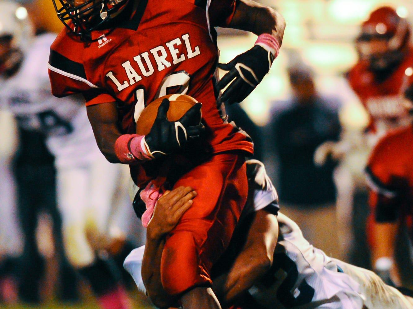 Laurel wide receiver Jarrett Johnson had 1,803 all-purpose yards last season including 1,043 receiving yards and seven touchdowns last season.