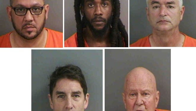 Six men, one not pictured, were charged with soliciting prostitution.