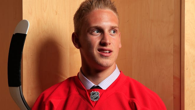 Anthony Mantha poses for a portrait after being selected by the Detroit Red Wings during the 2013 NHL draft June 30, 2013 in Newark, New Jersey.