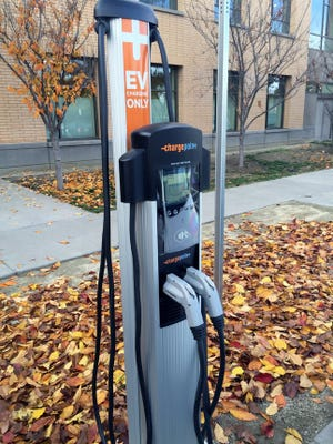 The new electric vehicle charging station in the Cupertino Library parking lot.