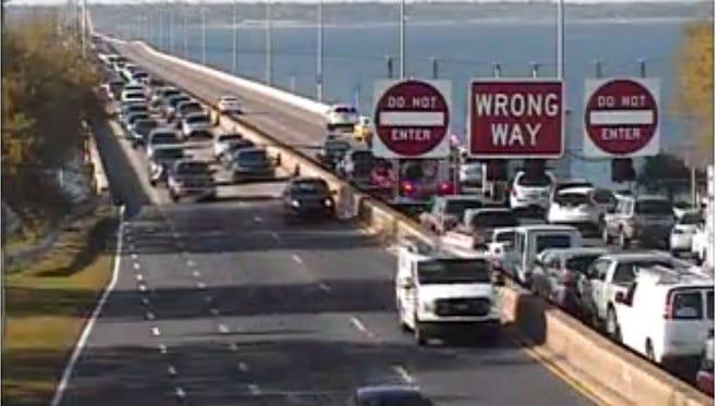 Pensacola Bay Bridge traffic.