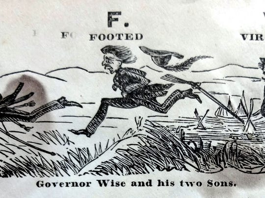 Jody Hopkins image. Union printers embellished mail envelope covers with images satirizing the Confederacy. This one shows Gov. Wise (of the First Families of Virginia fame) and his sons fleeing the advance of Federal troops.