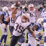 Patriots running back Jonas Gray celebrates one of his four touchdowns against the Indianapolis Colts in Week 11.