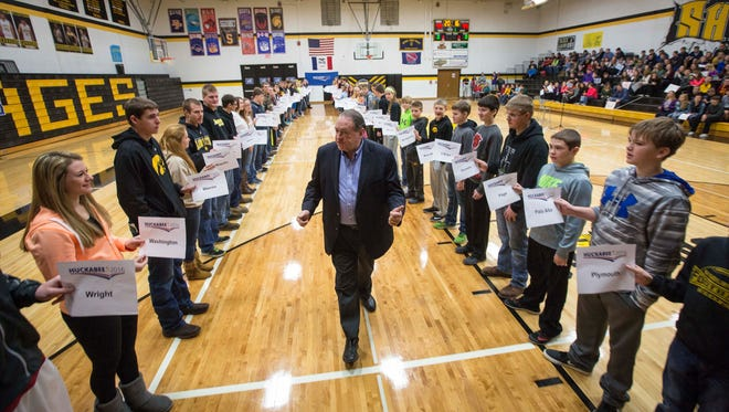 Republican presidential candidate Mike Huckabee visits Sigourney High School Thursday Jan. 7, 2016. Huckabee celebrated visiting all 99 counties in Iowa.
