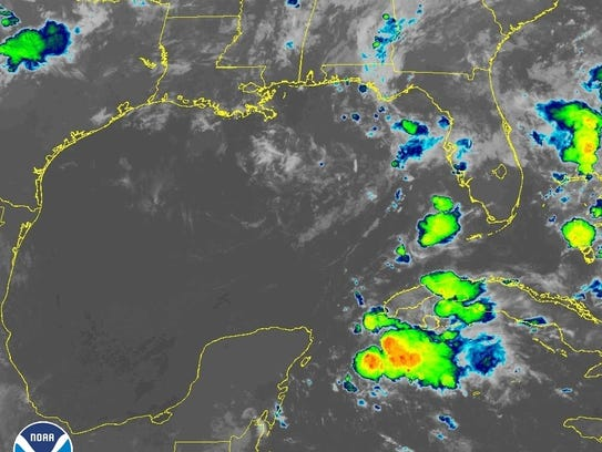 Satellite image of low-pressure system in the Gulf