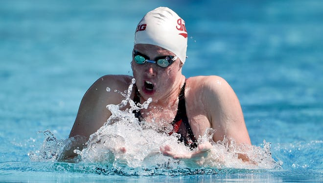 Lilly King competes in heat 7 of the Women's 200 LC Meter Breaststroke prelims during the 2018 USA Swimming Phillips 66 National Championships swim meet at William Woollett, Jr. Aquatics Center.