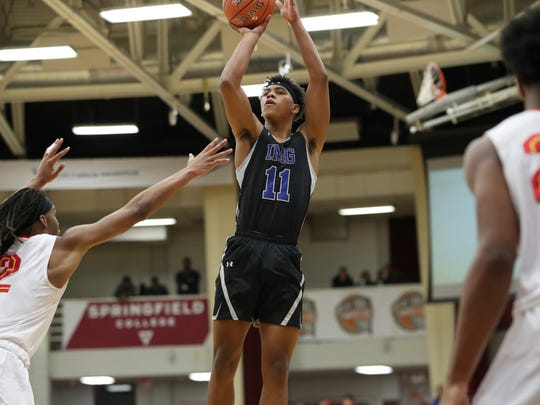 IMG Academy's Jaden Springer #11 in action against Oak Hill Academy during a high school basketball game at the Hoophall Classic, Sunday, January 20, 2019, in Springfield, MA. (AP Photo/Gregory Payan) ORG XMIT: NYOTK