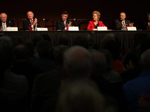 City council candidates Dana Hobart, Charles Townsend Vinci, Scott Hines, Iris Smotrich, Stuart Ackley, and Ted Weill answer questions during the Rancho Mirage Candidate Forum on Monday, March 3, 2014.