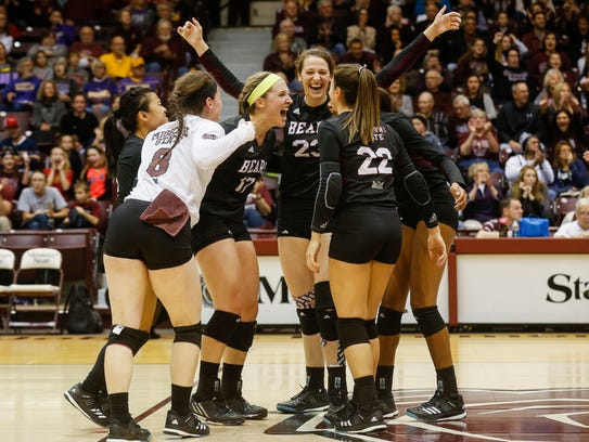 The Missouri State Bears celebrate during their win