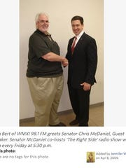 This screen shot shows state Sen. Chris McDaniel, right, and alleged conspirator John Mary. McDaniel often co-hosted a radio show with Mary .