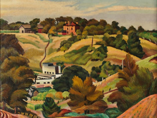 """Sylvester Jerry's """"Main Road, Kendall"""" (1933, oil)"""