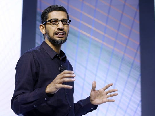 Sundar Pichai, senior vice president of Android, Chrome and Apps, speaks about the new Google Nexus phones during an event on Tuesday, Sept. 29, 2015, in San Francisco.
