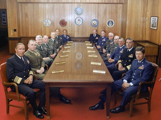 """At the beginning of """"Where to Invade Next,"""" Michael Moore stages a meeting of the Joint Chiefs of Staff for advice on his plans for mock invasions."""