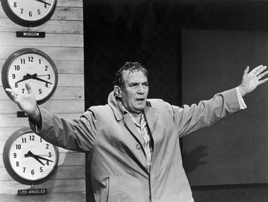"Peter Finch in a scene from the motion picture ""Network."""
