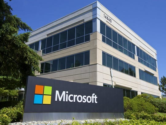 A building on the Microsoft Headquarters campus is pictured July 17, 2014, in Redmond, Wash.