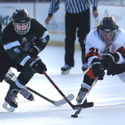 Novi Wildcat Brandon Kour, left, and Northville's Nick