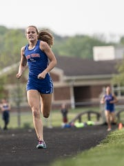 Zane Trace's Abbey Mohan finished fourth in the girls 800 meter run at the Division II/Division III Indoor Track State Championships in Geneva, Ohio on Saturday.