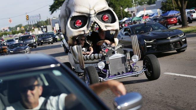 A car with a skull top goes down Woodward Avenue during the 2016 Woodward Dream Cruise on Saturday, August 20, 2016.