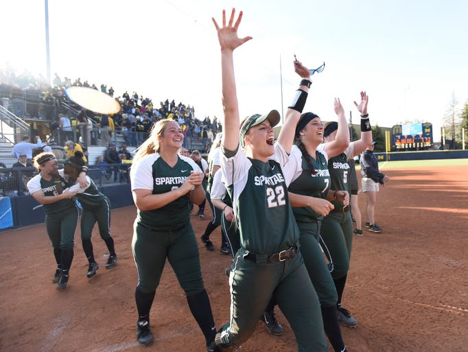 Michigan State shortstop McKenzie Long (22), and her