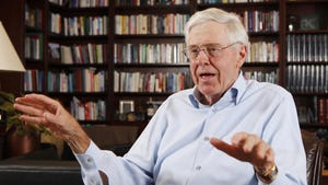 In this photo May 22, 2012 file photo, Charles Koch speaks in his office at Koch Industries in Wichita, Kan. Hundreds of wealthy donors gathered by billionaire industrialist Charles Koch will be meeting this weekend of Jan. 26, 2019, for the first time since the influential conservative political network announced it won't spend any money on the 2020 presidential race.