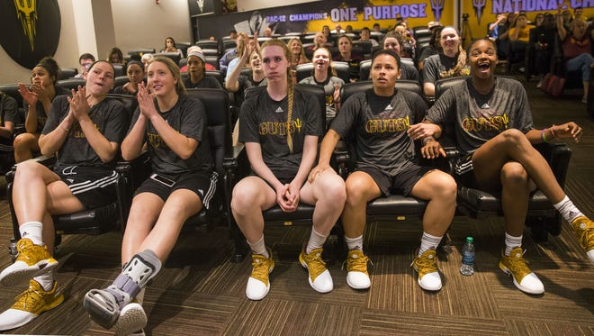 ASU players react while watching the NCAA Selection Show at the Carson Student-Athlete Center at ASU in Tempe, Ariz. March 13, 2017. ASU is the 8th seed and will play the 9th seeded Michigan St.