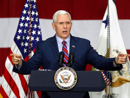 In this Saturday, April 1, 2017, photo, Vice President Mike Pence speaks at DynaLab, Inc. in Reynoldsburg, Ohio. Pence and a few other White House officials made a new offer to conservative House Republicans late Monday on the GOP's failed health care bill, hoping to resuscitate a measure that crashed spectacularly less than two weeks ago.