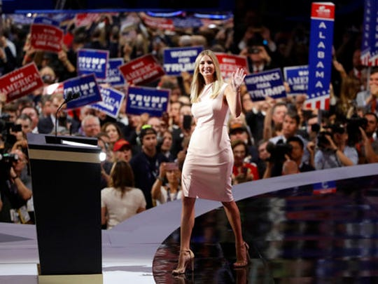 FILE - In this Thursday, July 21, 2016, file photo, Ivanka Trump takes the stage during the final day of the Republican National Convention in Cleveland. Since Donald Trump was elected president, sales of Ivanka Trump merchandise have surged, and her company has applied for several new trademarks in the Philippines, Puerto Rico, Canada and the U.S., signs that the commercial engine of her brand is still humming even as the first daughter builds a new career from her West Wing office.
