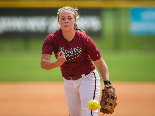 Tate Aggies Tori Perkins releases her pitch against