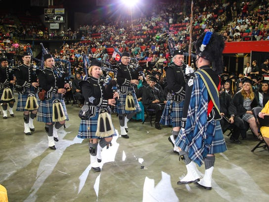 The Broome County Celtic Pipe and Drum Band led the