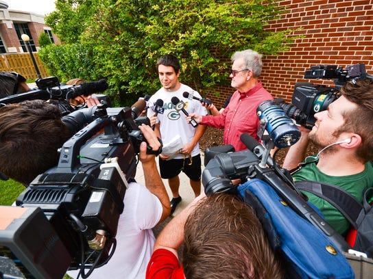 Green Bay Packers rookie Blake Martinez speaks with