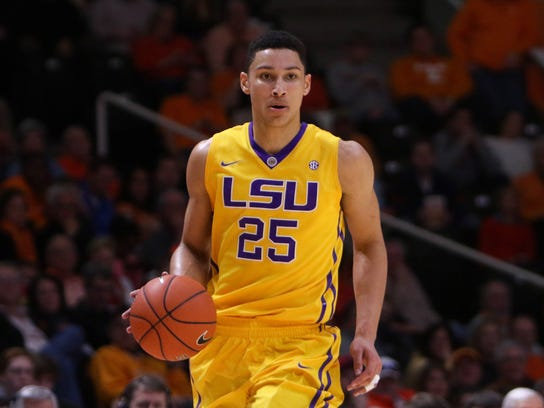 LSU Tigers forward Ben Simmons (25) dribbles the ball