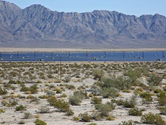 Open desert surrounds the Desert Sunlight solar project