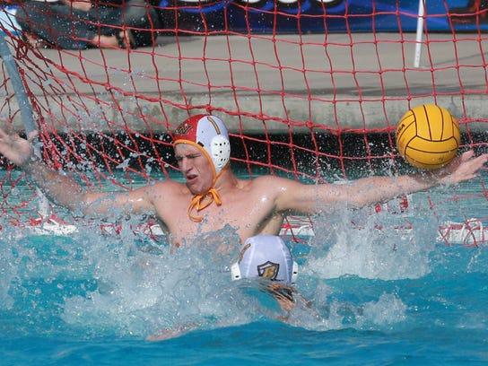 Golden West's Hayden Niederreiter makes a save against