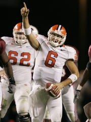 Charlie Whitehurst celebrates during the Clemson-USC
